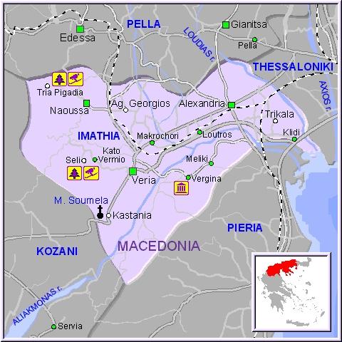 map of macedonia greece. Veria-map
