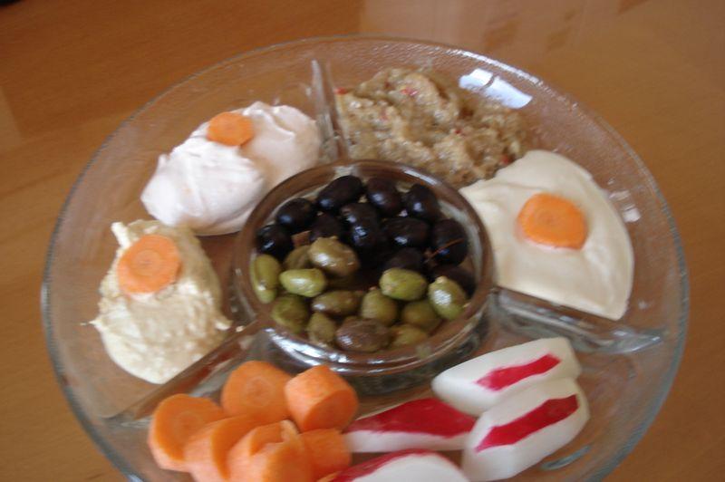 taramosalata,tahini,houmous,radishes,olives