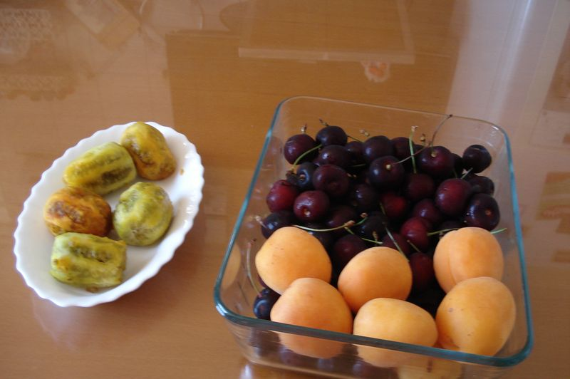 prickly pears, cherries, apricots