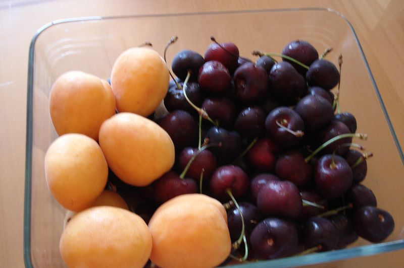 cherries and apricots