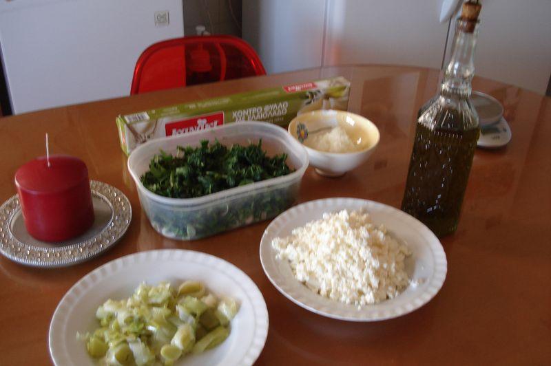 hortopita- leafy greens pie